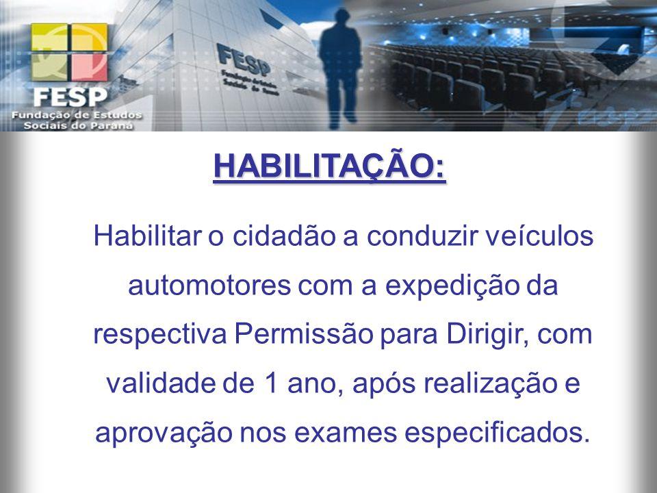 HABILITAÇÃO: Habilitar o cidadão a conduzir veículos automotores com a expedição da respectiva Permissão para Dirigir, com validade de 1 ano, após rea