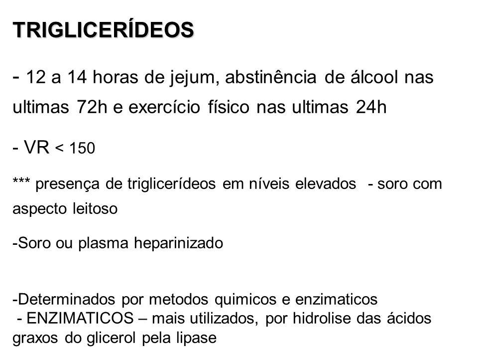TRIGLICERÍDEOS - 12 a 14 horas de jejum, abstinência de álcool nas ultimas 72h e exercício físico nas ultimas 24h - VR < 150 *** presença de triglicerídeos em níveis elevados - soro com aspecto leitoso -Soro ou plasma heparinizado -Determinados por metodos quimicos e enzimaticos - ENZIMATICOS – mais utilizados, por hidrolise das ácidos graxos do glicerol pela lipase
