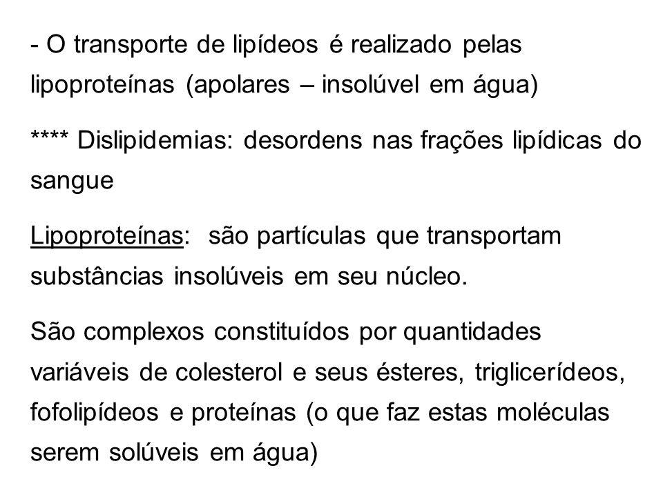 - O transporte de lipídeos é realizado pelas lipoproteínas (apolares – insolúvel em água) **** Dislipidemias: desordens nas frações lipídicas do sangue Lipoproteínas: são partículas que transportam substâncias insolúveis em seu núcleo.