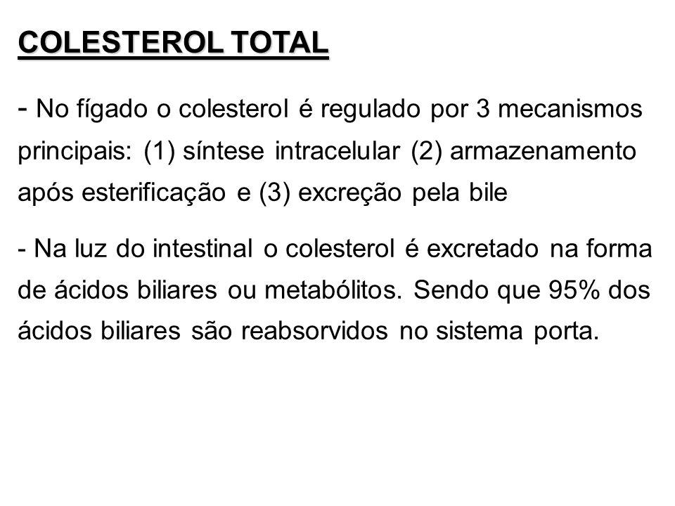 COLESTEROL TOTAL - No fígado o colesterol é regulado por 3 mecanismos principais: (1) síntese intracelular (2) armazenamento após esterificação e (3)
