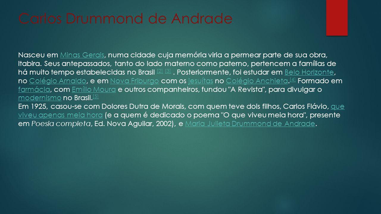 Carlos Drummond de Andrade Nasceu em Minas Gerais, numa cidade cuja memória viria a permear parte de sua obra, Itabira.