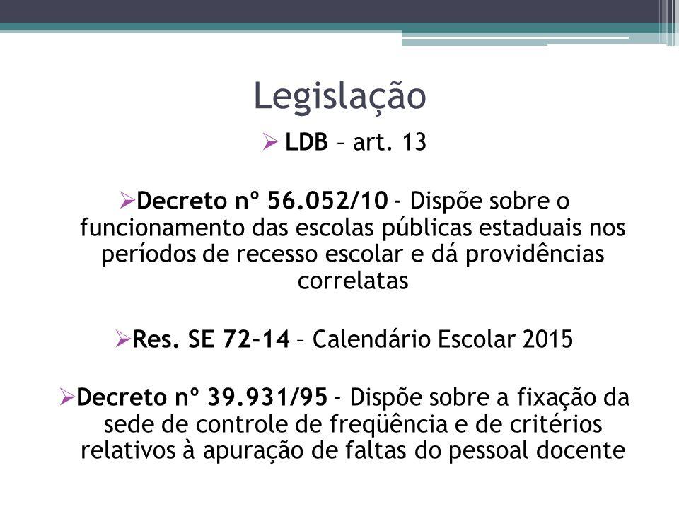 Legislação  LDB – art. 13  Decreto nº 56.052/10 - Dispõe sobre o funcionamento das escolas públicas estaduais nos períodos de recesso escolar e dá p
