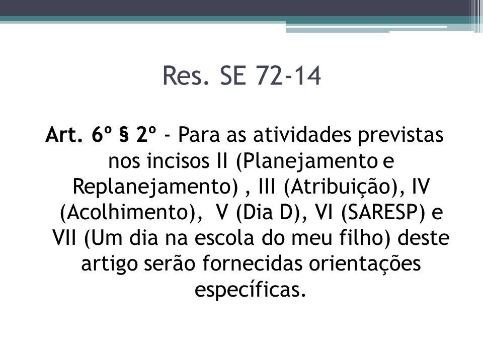 Res. SE 72-14 Art. 6º § 2º - Para as atividades previstas nos incisos II (Planejamento e Replanejamento), III (Atribuição), IV (Acolhimento), V (Dia D
