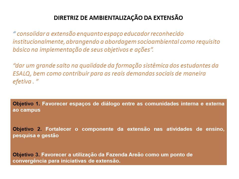DIRETRIZ DE AMBIENTALIZAÇÃO DA EXTENSÃO consolidar a extensão enquanto espaço educador reconhecido institucionalmente, abrangendo a abordagem socioambiental como requisito básico na implementação de seus objetivos e ações .
