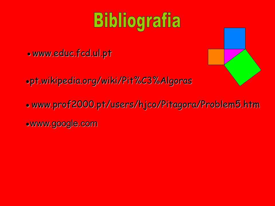 Bibliografia ● www.educ.fcd.ul.pt ● pt.wikipedia.org/wiki/Pit%C3%Algoras ● www.prof2000.pt/users/hjco/Pitagora/Problem5.htm ● www.google.com