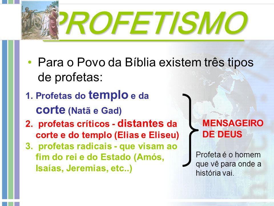 PROFETISMO PROFETISMO Os Antigos Profetas (não escritores)  Moisés – Mediador da Aliança (Dt 5.23-28; Ex 20.19-21)  Samuel - o segundo maior profeta (At 3.24; Sl 99.6; Jr 15.1)  Elias – problema da Idolatria (Elias pregava que Javé, e não baal, era o dono da chuva e da fertilidade)  Eliseu - se empenhou a destruir a dinastia omrita e o culto a Baal  Gad - relaciona-se com o culto ( 2 Sm 24.18); aconselha o rei ( 1 Sm 22.5) e condena o mesmo (2 Sm 24.11-12).