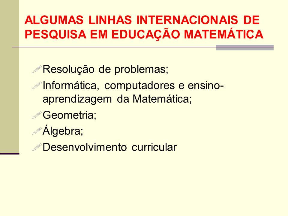 ALGUMAS LINHAS INTERNACIONAIS DE PESQUISA EM EDUCAÇÃO MATEMÁTICA  Resolução de problemas;  Informática, computadores e ensino- aprendizagem da Matem