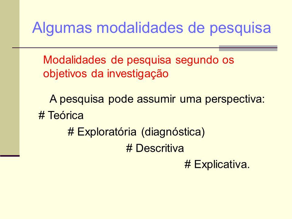 Algumas modalidades de pesquisa Modalidades de pesquisa segundo os objetivos da investigação A pesquisa pode assumir uma perspectiva: # Teórica # Expl