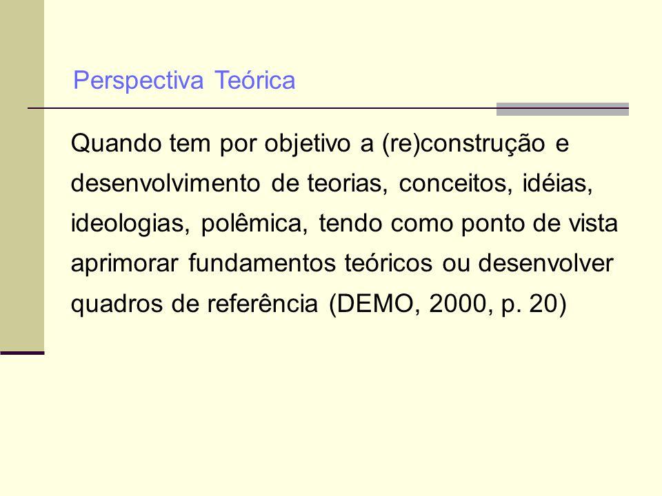 Quando tem por objetivo a (re)construção e desenvolvimento de teorias, conceitos, idéias, ideologias, polêmica, tendo como ponto de vista aprimorar fu