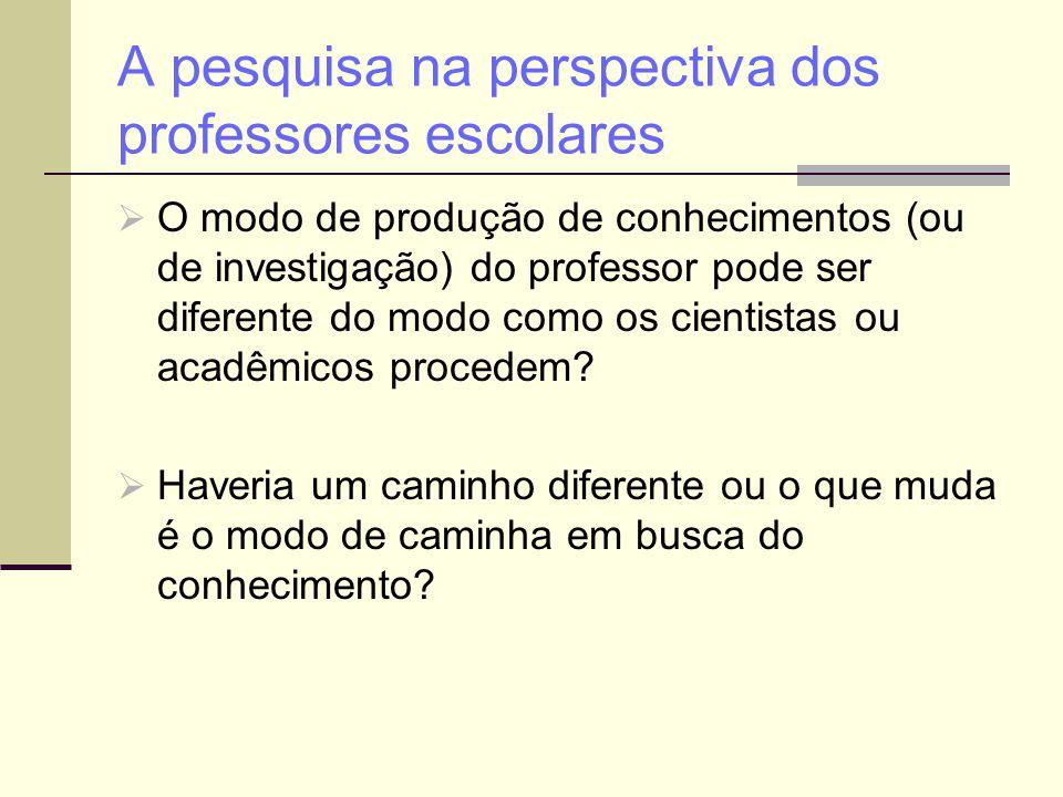 A pesquisa na perspectiva dos professores escolares  O modo de produção de conhecimentos (ou de investigação) do professor pode ser diferente do modo