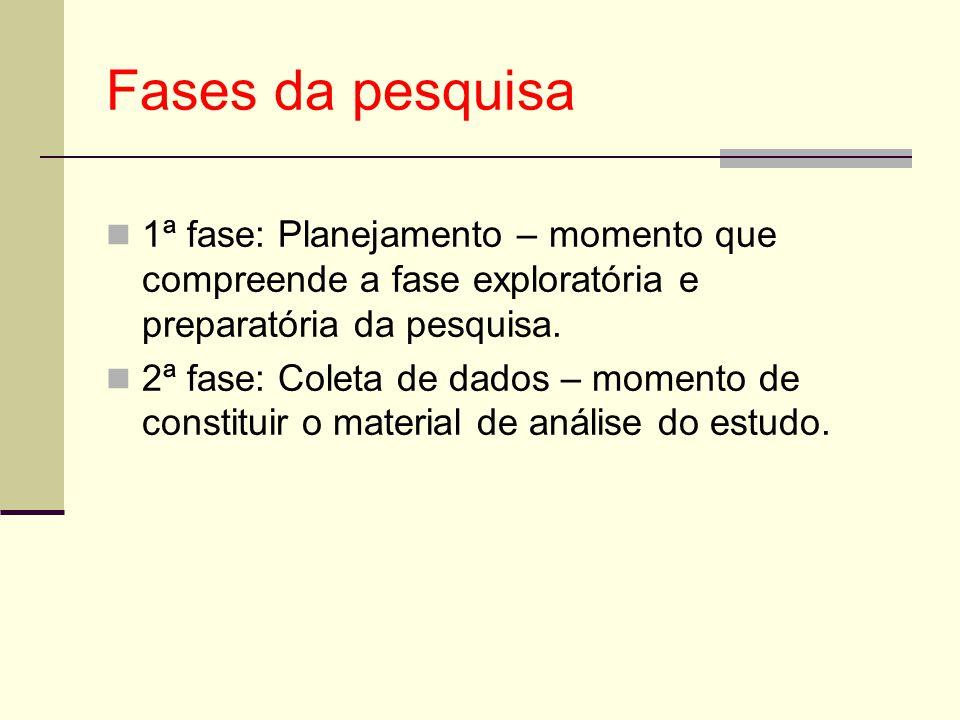 Fases da pesquisa 1ª fase: Planejamento – momento que compreende a fase exploratória e preparatória da pesquisa. 2ª fase: Coleta de dados – momento de