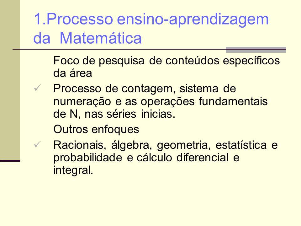 1.Processo ensino-aprendizagem da Matemática Foco de pesquisa de conteúdos específicos da área Processo de contagem, sistema de numeração e as operaçõ