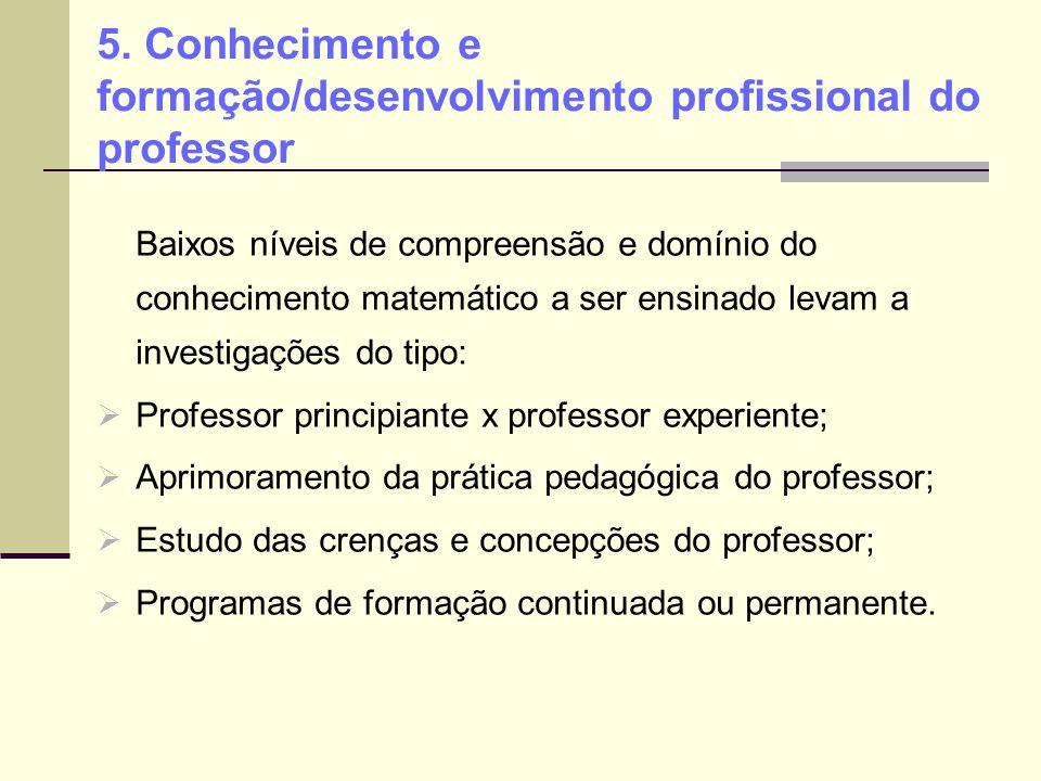 5. Conhecimento e formação/desenvolvimento profissional do professor Baixos níveis de compreensão e domínio do conhecimento matemático a ser ensinado