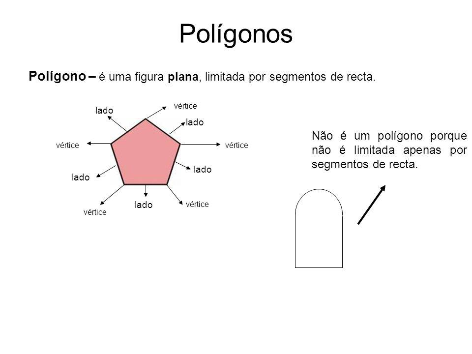 Polígonos Polígono – é uma figura plana, limitada por segmentos de recta. vértice lado Não é um polígono porque não é limitada apenas por segmentos de