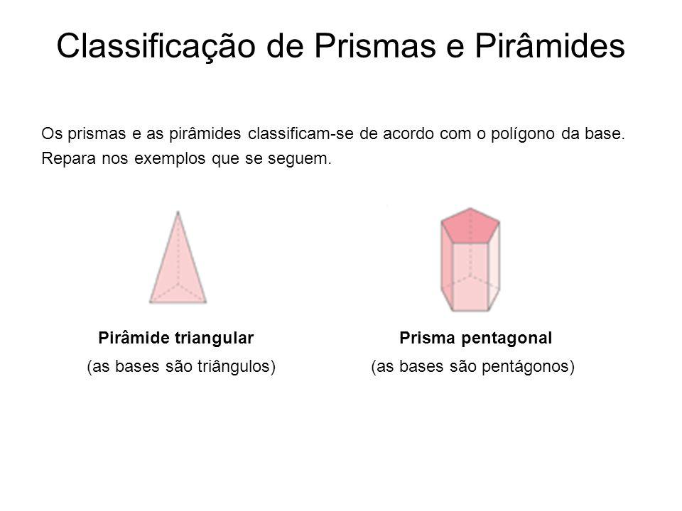 Classificação de Prismas e Pirâmides Os prismas e as pirâmides classificam-se de acordo com o polígono da base. Repara nos exemplos que se seguem. Pir