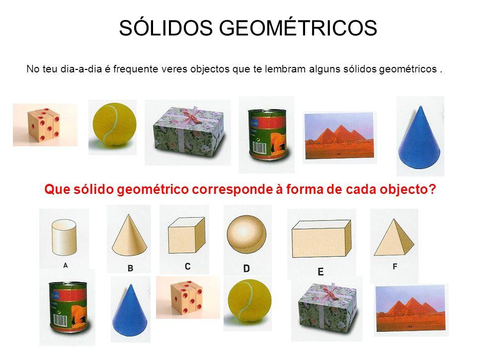SÓLIDOS GEOMÉTRICOS No teu dia-a-dia é frequente veres objectos que te lembram alguns sólidos geométricos. Que sólido geométrico corresponde à forma d