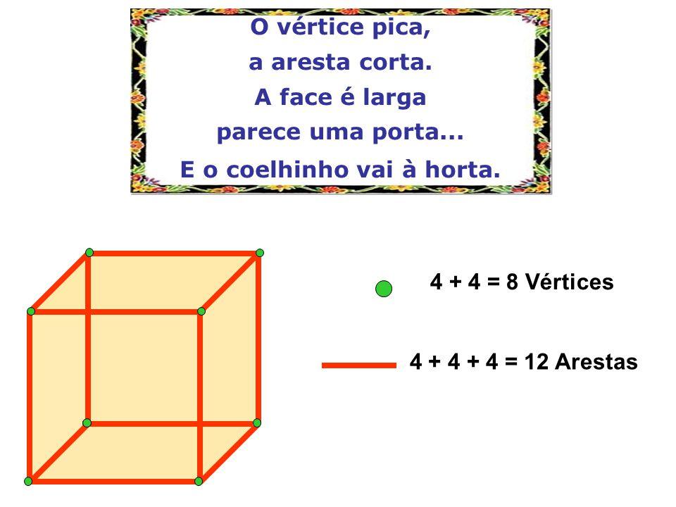O vértice pica, a aresta corta. A face é larga parece uma porta... E o coelhinho vai à horta. 4 + 4 = 8 Vértices 4 + 4 + 4 = 12 Arestas