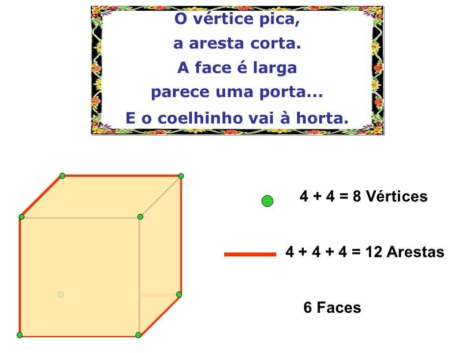 4 + 4 = 8 Vértices 6 Faces 4 + 4 + 4 = 12 Arestas O vértice pica, a aresta corta. A face é larga parece uma porta... E o coelhinho vai à horta.
