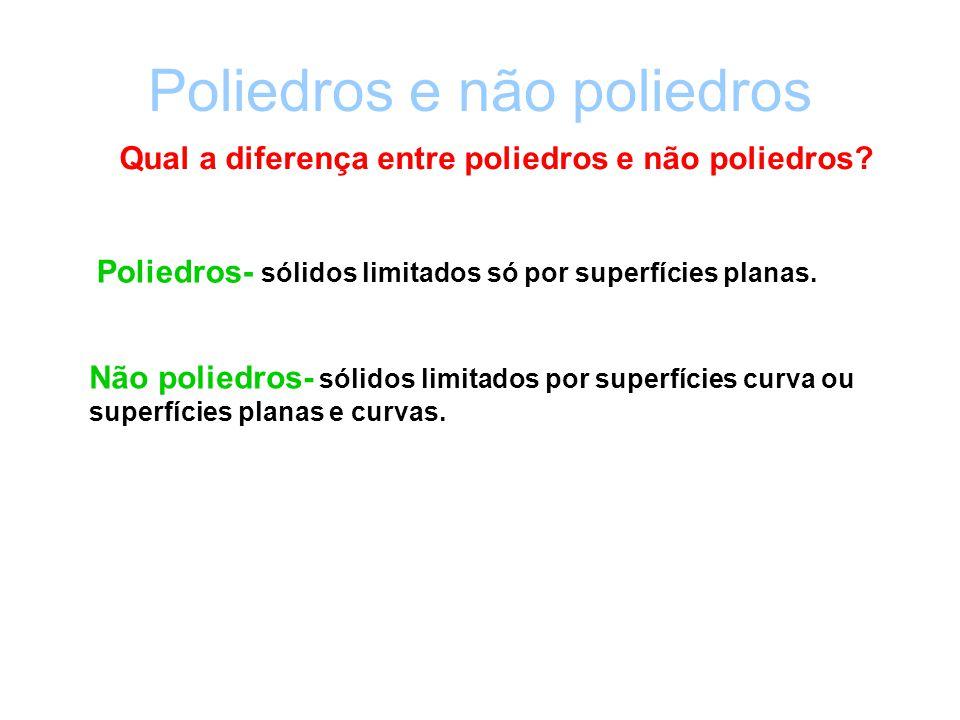 Poliedros e não poliedros Qual a diferença entre poliedros e não poliedros? Poliedros- sólidos limitados só por superfícies planas. Não poliedros- sól