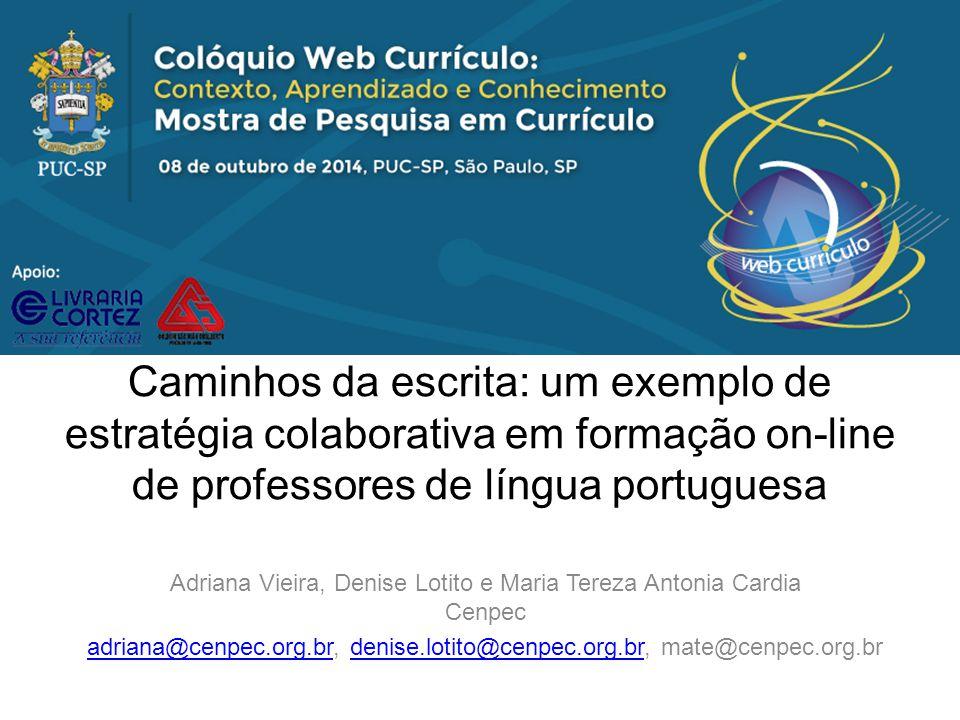 Introdução - Olimpíada de Língua Portuguesa Escrevendo o Futuro (MEC, Fundação Itaú Social e Cenpec), criada em 2008 a partir da experiência do Programa Escrevendo o Futuro instituído em 2002, com o objetivo de contribuir para melhoria do ensino da escrita nas escolas públicas brasileiras.
