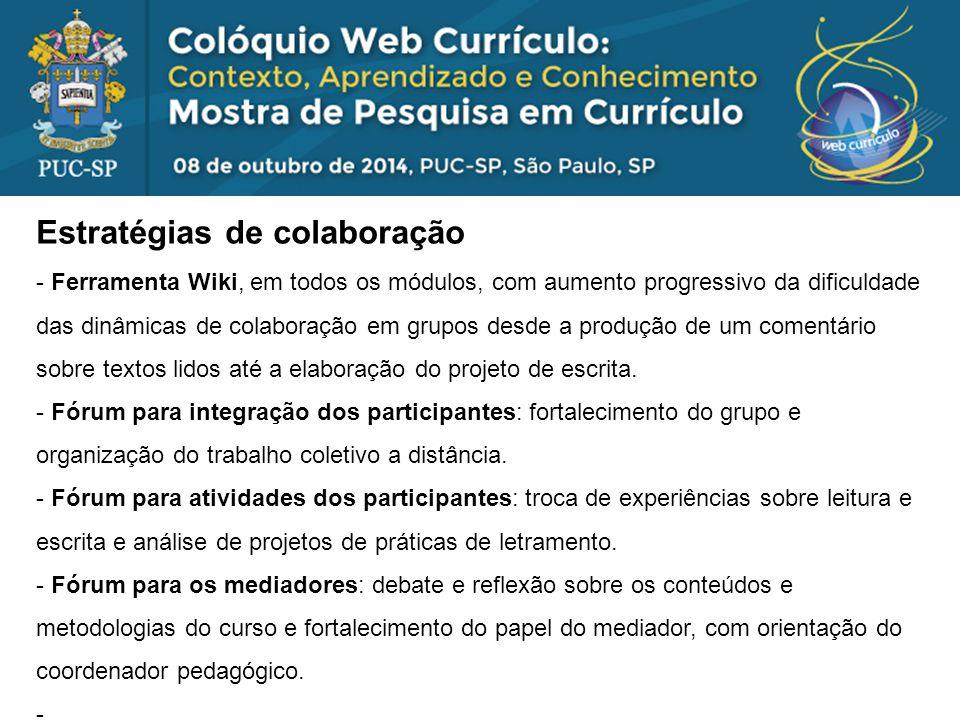 Considerações finais Aspectos relevantes para promoção da colaboração: - A colaboração como procedimento a ser ensinado no curso e como critério de avaliação (explicitado) dos participantes.