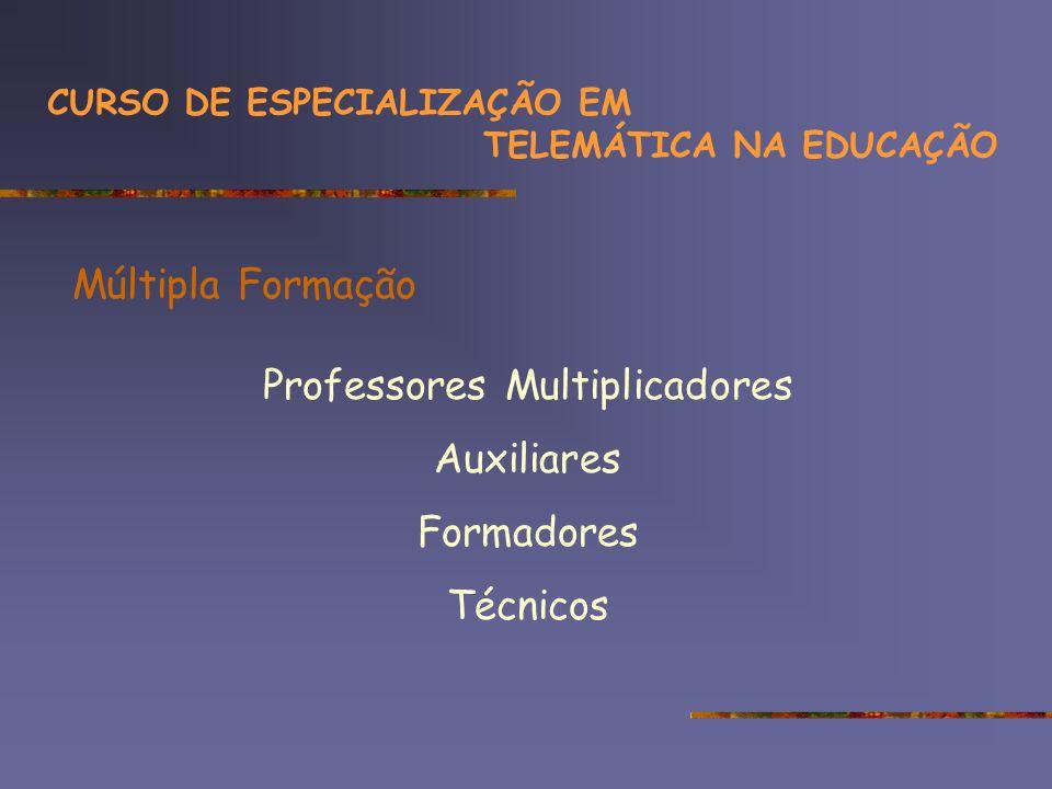 Múltipla Formação Professores Multiplicadores Auxiliares Formadores Técnicos CURSO DE ESPECIALIZAÇÃO EM TELEMÁTICA NA EDUCAÇÃO