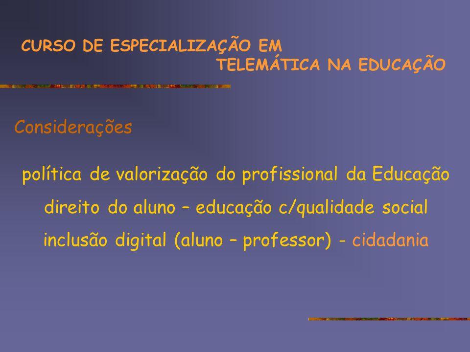 Considerações política de valorização do profissional da Educação direito do aluno – educação c/qualidade social inclusão digital (aluno – professor) - cidadania CURSO DE ESPECIALIZAÇÃO EM TELEMÁTICA NA EDUCAÇÃO