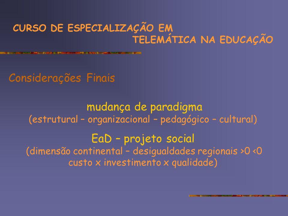 Considerações Finais mudança de paradigma (estrutural – organizacional – pedagógico – cultural) EaD – projeto social (dimensão continental – desigualdades regionais >0 <0 custo x investimento x qualidade) CURSO DE ESPECIALIZAÇÃO EM TELEMÁTICA NA EDUCAÇÃO