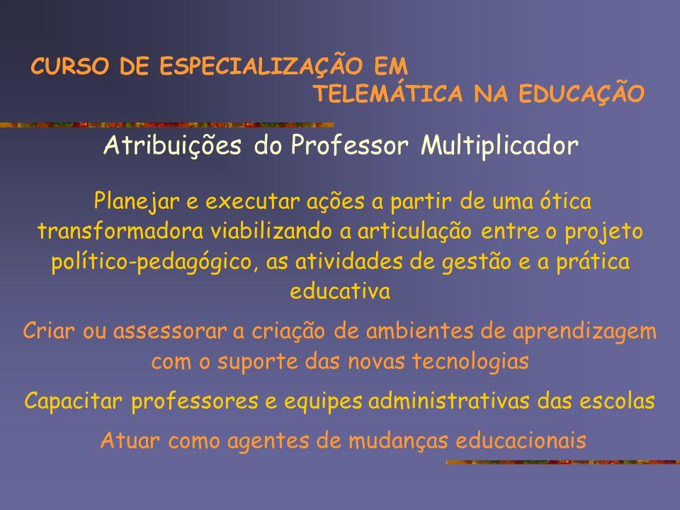 Considerações sensibilidade dos gestores (condições) conectividade x recursos utilizados tempo (computação – liberação) CURSO DE ESPECIALIZAÇÃO EM TELEMÁTICA NA EDUCAÇÃO