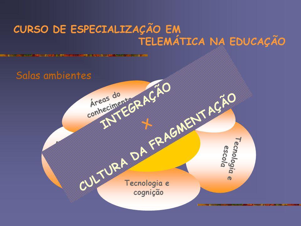Tecnologia e escola Suporte e oficinas tecnológicas Tecnologia e cognição Áreas do conhecimento Tópicos especiais Projetos Salas ambientes CURSO DE ESPECIALIZAÇÃO EM TELEMÁTICA NA EDUCAÇÃO INTEGRAÇÃO X CULTURA DA FRAGMENTAÇÃO
