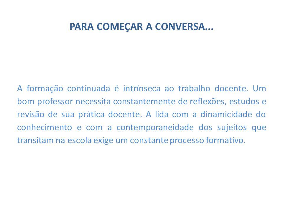 PARA COMEÇAR A CONVERSA...A formação continuada é intrínseca ao trabalho docente.