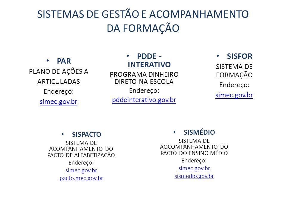 SISTEMAS DE GESTÃO E ACOMPANHAMENTO DA FORMAÇÃO PDDE - INTERATIVO PROGRAMA DINHEIRO DIRETO NA ESCOLA Endereço: pddeinterativo.gov.br PAR PLANO DE AÇÕES A ARTICULADAS Endereço: simec.gov.br SISFOR SISTEMA DE FORMAÇÃO Endereço: simec.gov.br SISPACTO SISTEMA DE ACOMPANHAMENTO DO PACTO DE ALFABETIZAÇÃO Endereço: simec.gov.br pacto.mec.gov.br SISMÉDIO SISTEMA DE AQCOMPANHAMENTO DO PACTO DO ENSINO MÉDIO Endereço: simec.gov.br sismedio.gov.br