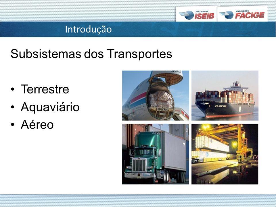 Introdução Subsistemas dos Transportes Terrestre Aquaviário Aéreo