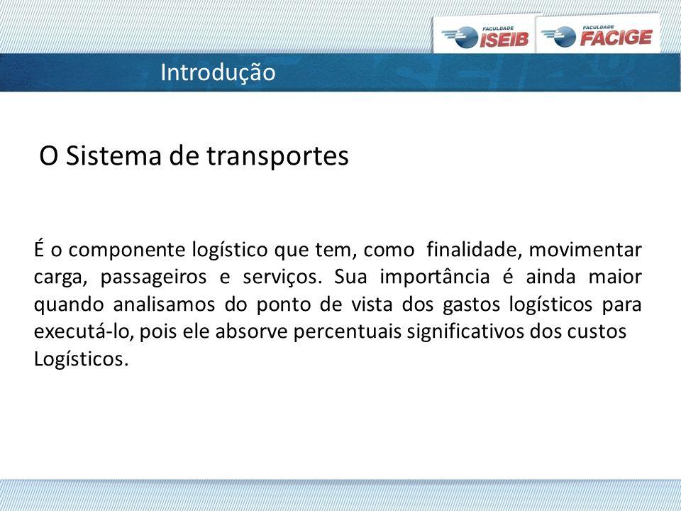 Introdução É o componente logístico que tem, como finalidade, movimentar carga, passageiros e serviços.