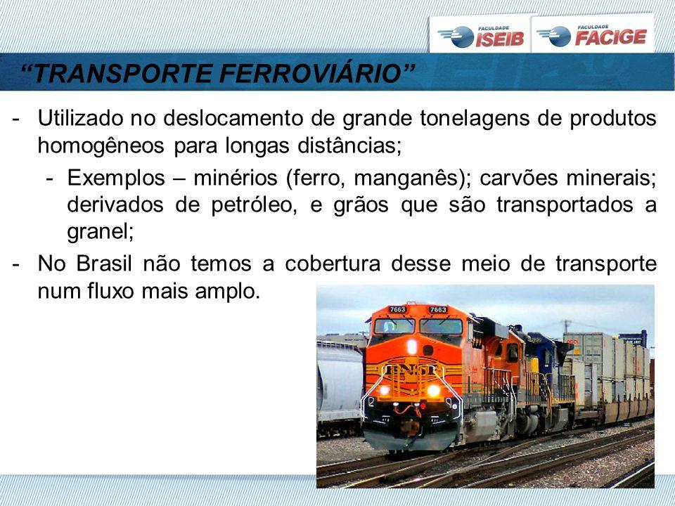 TRANSPORTE FERROVIÁRIO -Utilizado no deslocamento de grande tonelagens de produtos homogêneos para longas distâncias; -Exemplos – minérios (ferro, manganês); carvões minerais; derivados de petróleo, e grãos que são transportados a granel; -No Brasil não temos a cobertura desse meio de transporte num fluxo mais amplo.