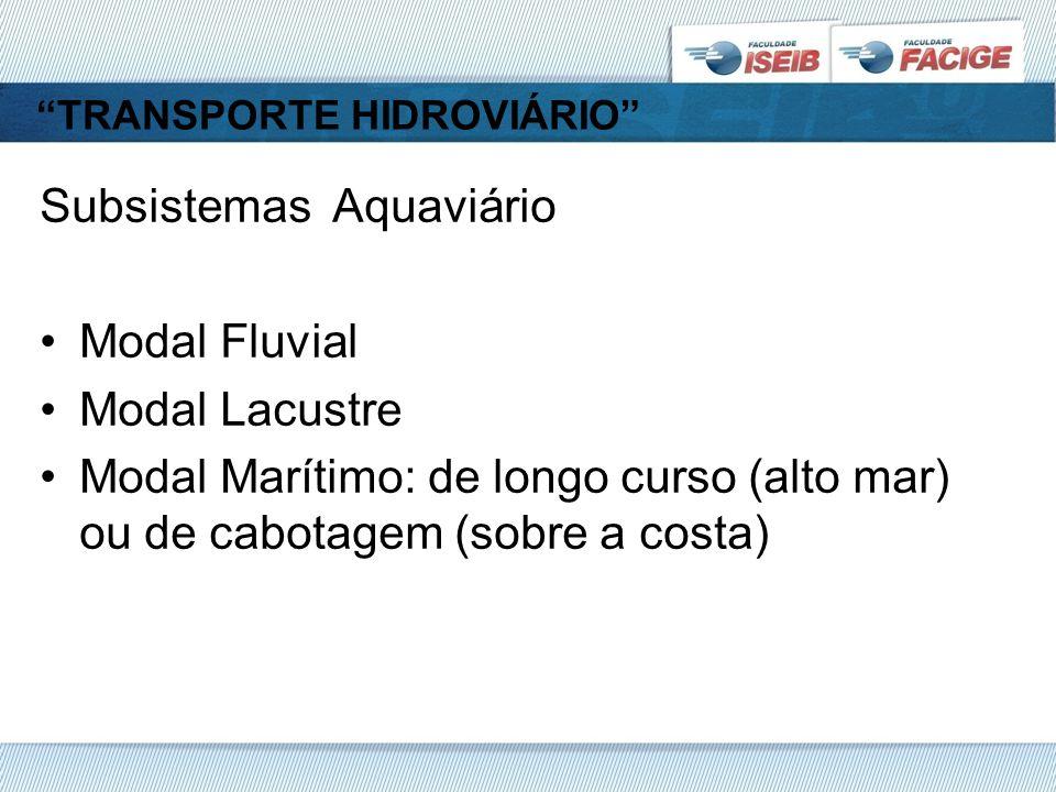 TRANSPORTE HIDROVIÁRIO Subsistemas Aquaviário Modal Fluvial Modal Lacustre Modal Marítimo: de longo curso (alto mar) ou de cabotagem (sobre a costa)