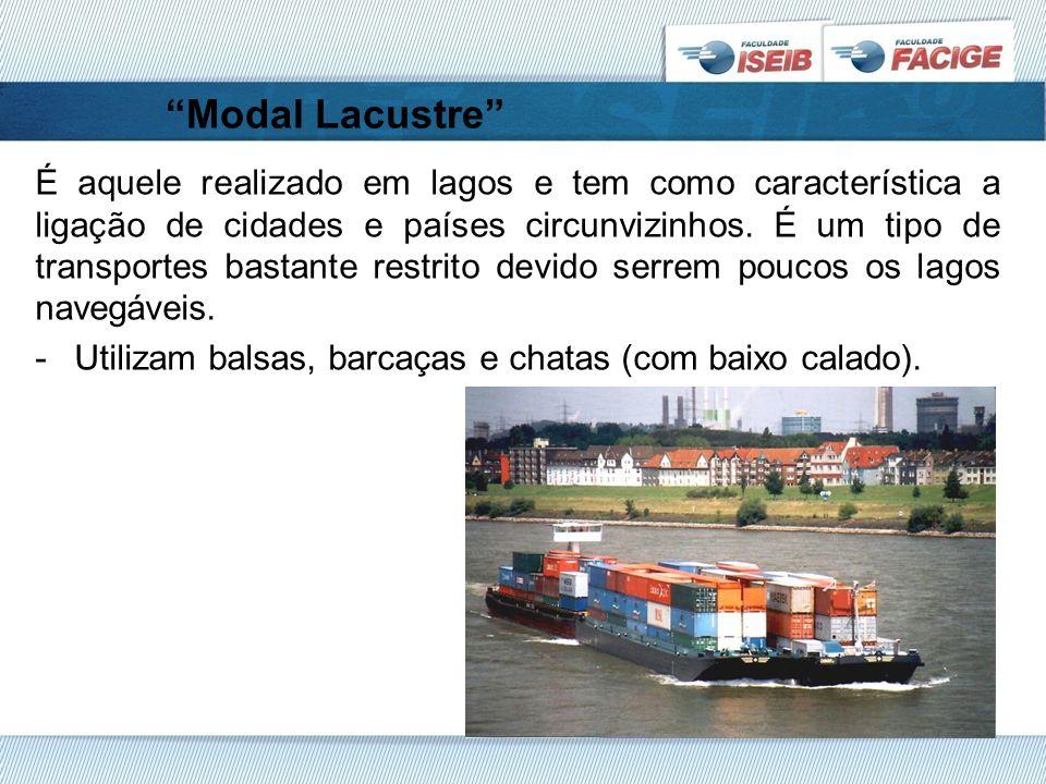 Modal Lacustre É aquele realizado em lagos e tem como característica a ligação de cidades e países circunvizinhos.