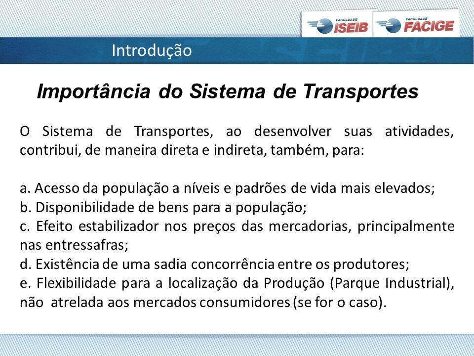 Introdução Importância do Sistema de Transportes O Sistema de Transportes, ao desenvolver suas atividades, contribui, de maneira direta e indireta, também, para: a.