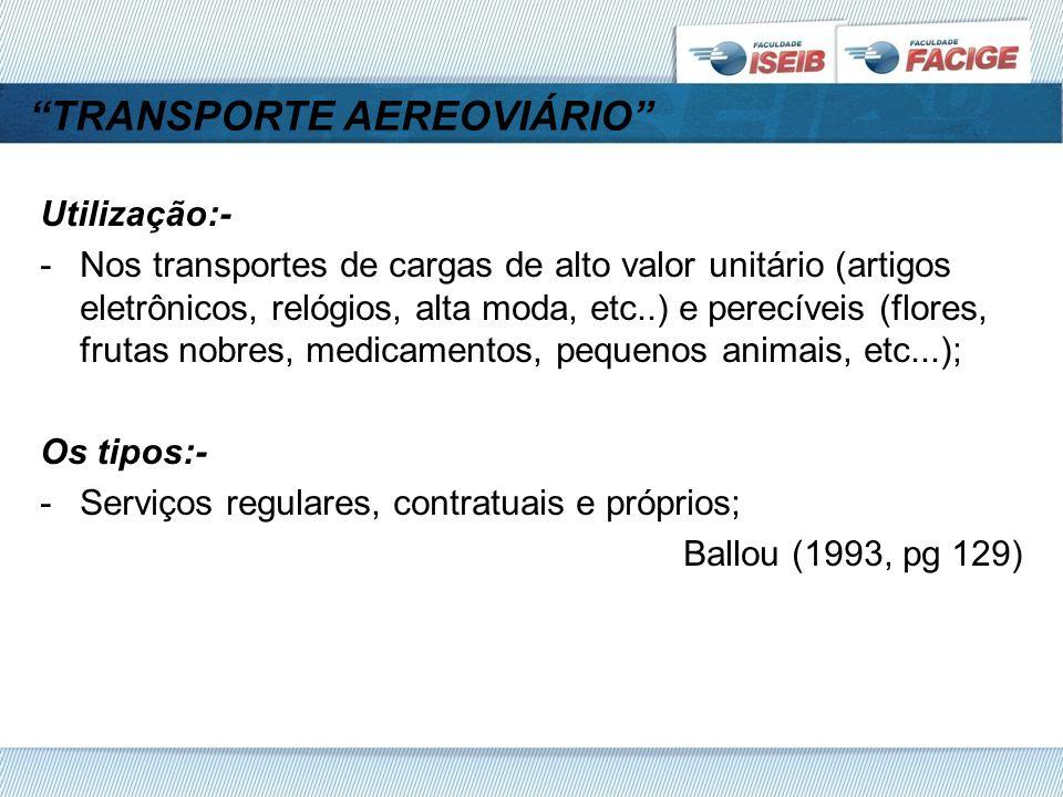 TRANSPORTE AEREOVIÁRIO Utilização:- -Nos transportes de cargas de alto valor unitário (artigos eletrônicos, relógios, alta moda, etc..) e perecíveis (flores, frutas nobres, medicamentos, pequenos animais, etc...); Os tipos:- -Serviços regulares, contratuais e próprios; Ballou (1993, pg 129)