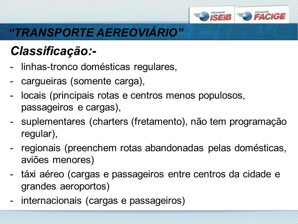 TRANSPORTE AEREOVIÁRIO Classificação:- -linhas-tronco domésticas regulares, -cargueiras (somente carga), -locais (principais rotas e centros menos populosos, passageiros e cargas), -suplementares (charters (fretamento), não tem programação regular), -regionais (preenchem rotas abandonadas pelas domésticas, aviões menores) -táxi aéreo (cargas e passageiros entre centros da cidade e grandes aeroportos) -internacionais (cargas e passageiros)