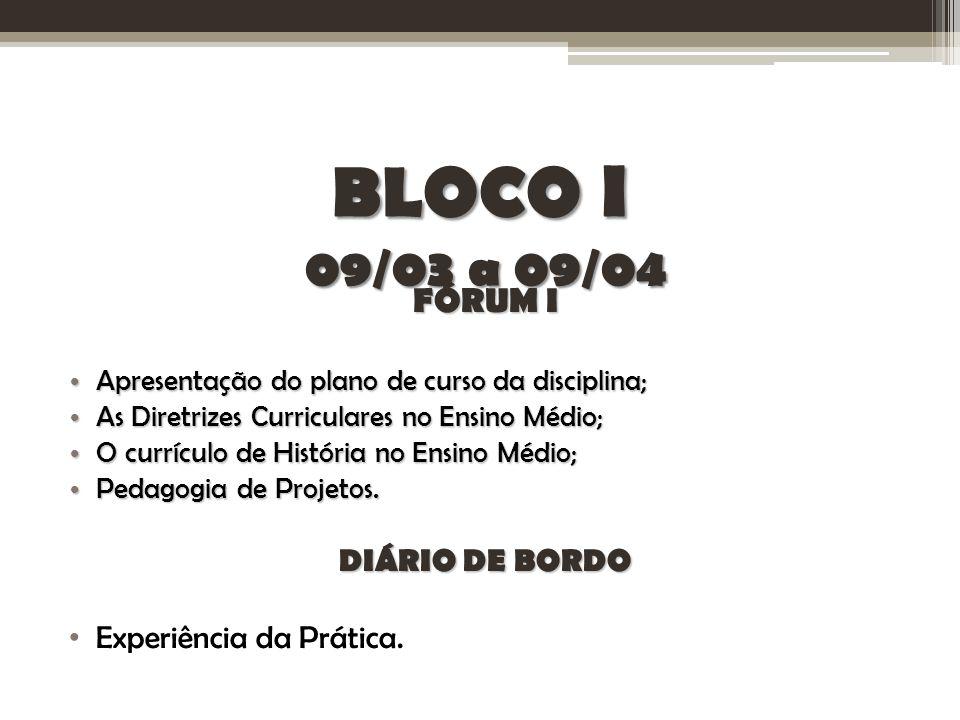 BLOCO I 09/03 a 09/04 FÓRUM I Apresentação do plano de curso da disciplina; Apresentação do plano de curso da disciplina; As Diretrizes Curriculares n
