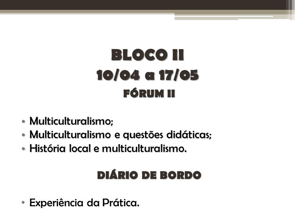 BLOCO II 10/04 a 17/05 FÓRUM II Multiculturalismo; Multiculturalismo; Multiculturalismo e questões didáticas; Multiculturalismo e questões didáticas; História local e multiculturalismo.