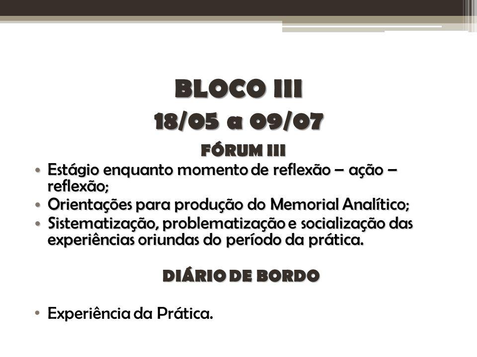 BLOCO III 18/05 a 09/07 FÓRUM III Estágio enquanto momento de reflexão – ação – reflexão; Estágio enquanto momento de reflexão – ação – reflexão; Orie