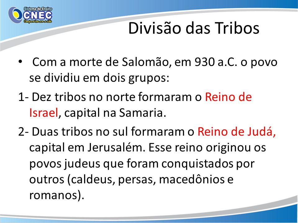 Divisão das Tribos Com a morte de Salomão, em 930 a.C. o povo se dividiu em dois grupos: 1- Dez tribos no norte formaram o Reino de Israel, capital na