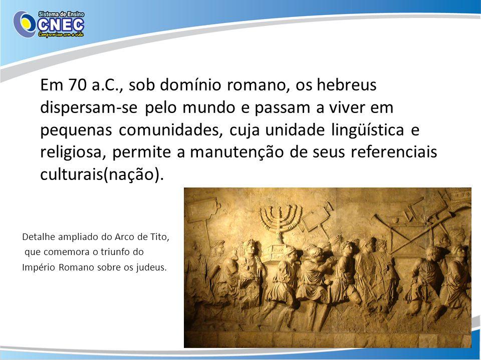 Em 70 a.C., sob domínio romano, os hebreus dispersam-se pelo mundo e passam a viver em pequenas comunidades, cuja unidade lingüística e religiosa, per
