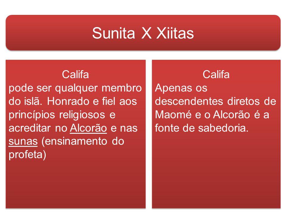 Sunita X Xiitas Califa pode ser qualquer membro do islã.