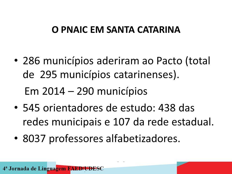 4ª Jornada de Linguagem FAED/UDESC O PNAIC EM SANTA CATARINA 286 municípios aderiram ao Pacto (total de 295 municípios catarinenses). Em 2014 – 290 mu