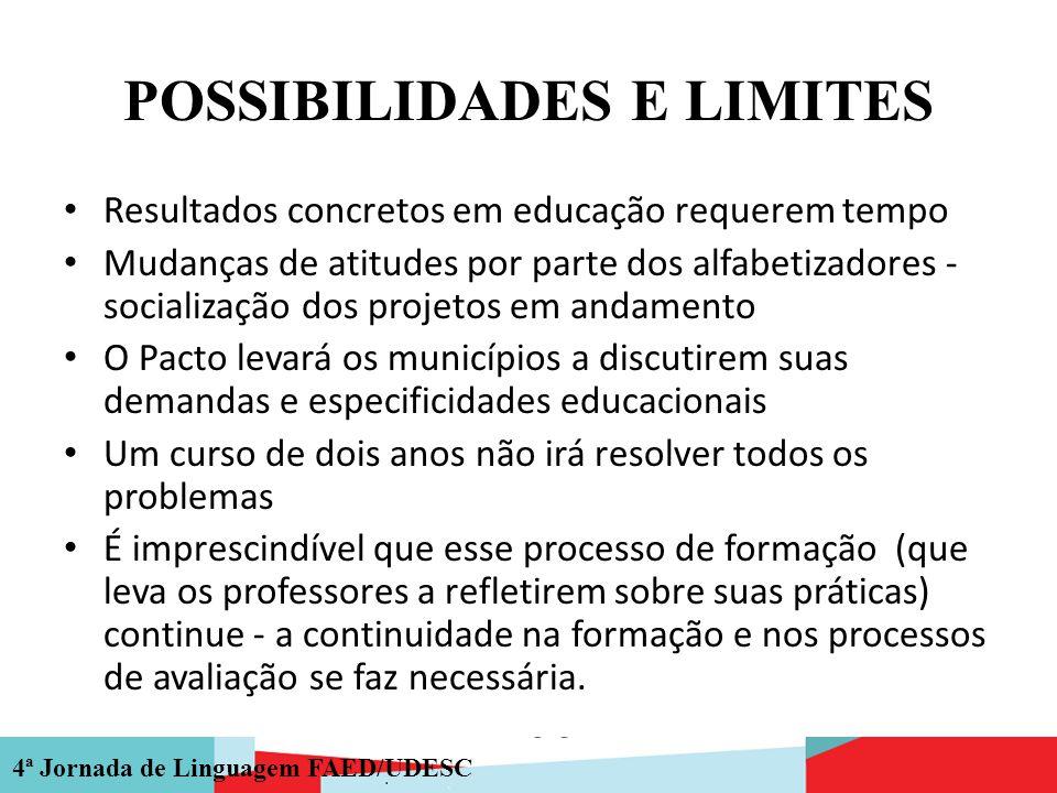 4ª Jornada de Linguagem FAED/UDESC POSSIBILIDADES E LIMITES Resultados concretos em educação requerem tempo Mudanças de atitudes por parte dos alfabet