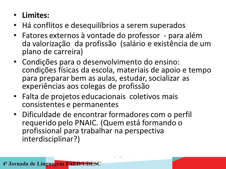 4ª Jornada de Linguagem FAED/UDESC Limites: Há conflitos e desequilíbrios a serem superados Fatores externos à vontade do professor - para além da val