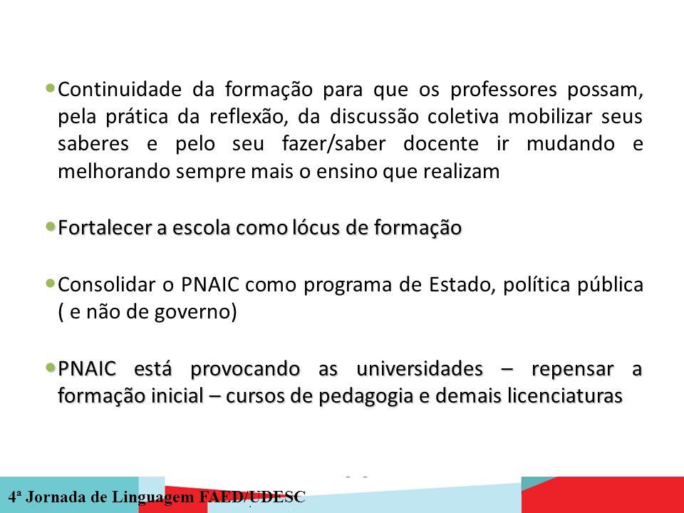 4ª Jornada de Linguagem FAED/UDESC Continuidade da formação para que os professores possam, pela prática da reflexão, da discussão coletiva mobilizar
